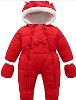 Недорогие -малыш Девочки Классический Однотонный Длинный рукав Хлопок / Полиэстер 1 предмет Красный