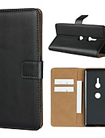Недорогие -Кейс для Назначение Sony Xperia XZ2 Premium / Xperia L2 Кошелек / Бумажник для карт / со стендом Чехол Однотонный Твердый Настоящая кожа для Sony Xperia XZ2 Premium / Sony Xperia XZ3 / Xperia XZ2