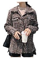 Недорогие -Жен. Повседневные Классический Весна Обычная Куртка, Однотонный Приподнятый круглый Длинный рукав Акрил / Полиэстер Плиссировка Коричневый S / M / L
