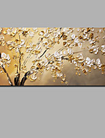 baratos -Pintura a Óleo Pintados à mão - Abstrato / Floral / Botânico Contemprâneo / Modern Incluir moldura interna / Lona Laminada / Lona esticada