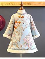 Недорогие -Дети (1-4 лет) Девочки Цветочный принт / Этно Длинный рукав Платье