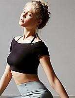 abordables -Femme Spag Epaules Dénudées Haut Découpé Rembourré Soutien Moyen Des sports Couleur unie Hauts / Top Pour Yoga, Fitness, Faire des exercices Manches Courtes Tenues de Sport Respirable / Hiver