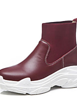 Недорогие -Жен. Наппа Leather Лето Милая / Минимализм Ботинки Туфли на танкетке Круглый носок Ботинки Черный / Винный