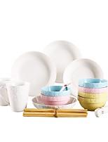 abordables -24pcs Bols Assiettes Services de Vaisselle Vaisselle Porcelaine Céramique Mignon Créatif Design nouveau