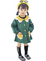 Недорогие -малыш Девочки Активный Повседневные Контрастных цветов Длинный рукав Выше колена Полиэстер Платье Зеленый 100 / Дети (1-4 лет)