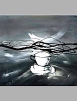 baratos -Pintura a Óleo Pintados à mão - Abstrato Clássico / Modern Sem armação interna / Lona Laminada