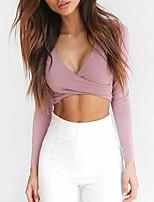 Недорогие -женская тонкая футболка - сплошная цветная глубокая v