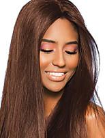 Недорогие -Не подвергавшиеся окрашиванию человеческие волосы Remy Лента спереди Парик Бразильские волосы Естественный прямой Коричневый Парик 130% Плотность волос / с детскими волосами / с детскими волосами