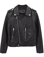 Недорогие -Жен. Повседневные Короткая Кожаные куртки, Однотонный Отложной Длинный рукав Полиуретановая Черный / Красный M / L / XL
