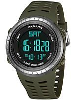 Недорогие -Муж. Спортивные часы Японский Цифровой 30 m Защита от влаги Календарь С двумя часовыми поясами силиконовый Группа Цифровой Мода Черный / Зеленый - Черный Зеленый / Хронометр / Фосфоресцирующий