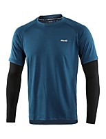 billiga -Arsuxeo Herr Lappverk T-shirt för jogging - Mörkgrå, Armégrön, Blå sporter Mode T-shirt Yoga, Löpning, Fitness Långärmad Sportkläder Snabb tork, Mjuk, Reflexremsa Elastisk