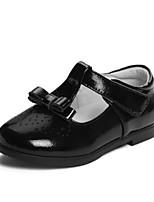 Недорогие -Девочки Обувь Кожа Весна & осень Детская праздничная обувь На плокой подошве Бант для Дети Черный / Красный
