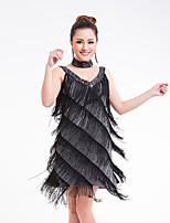 baratos -Dança Latina Vestidos Mulheres Espetáculo Fibra de Leite Mocassim / Combinação / Lantejoula Sem Manga Alto Vestido