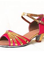 Недорогие -Жен. Обувь для латины Сатин На каблуках Планка Толстая каблук Персонализируемая Танцевальная обувь Розовый