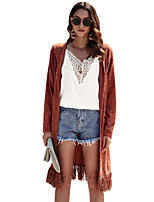 cheap -Women's Solid Colored Cardigan Long Sleeve Long Sweater Cardigans Light Brown Camel Navy Blue
