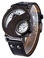 Недорогие -Муж. Спортивные часы Японский Кварцевый Секундомер Новый дизайн С двумя часовыми поясами Натуральная кожа Группа Аналоговый Кольцеобразный Мода Черный - Черный Коричнево-черный Черный / Белый