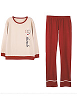 abordables -costumes de coton pour femmes vêtements de nuit de couleur unie