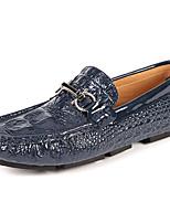 Недорогие -Муж. Кожаные ботинки Кожа Весна & осень На каждый день / Английский Мокасины и Свитер Массаж Белый / Черный / Синий