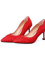 baratos -Mulheres Renda / Sintéticos Primavera Verão Doce / Temática Asiática Sapatos De Casamento Salto Sabrina Dedo Fechado Vermelho / Festas & Noite