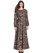 baratos -Mulheres Vintage / Boho Delgado Calças - Leopardo Patchwork / Estampado Marron / Longo / Luva Lantern / Trabalho