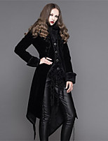 abordables -Cosplay Steampunk Costume Femme Manteau Noir / Rouge noir Vintage Cosplay Polyester Manches Longues Manche Chauve-souris