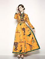 baratos -Mulheres Sofisticado / Elegante Bainha / balanço Vestido - Estampado, Animal / Tribal Longo Floco de Neve