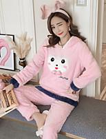 abordables -Col Arrondi Costumes Pyjamas Femme Broderie