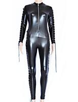Недорогие -Инвентарь Косплей Костюмы зентай Косплэй костюмы Черный Однотонный Костюмы кошки Искусственная кожа Полиэстер Маскарад