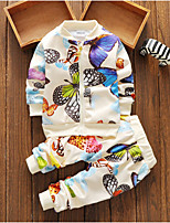 billiga -Bebis Flickor Grundläggande Dagligen Geometrisk Långärmad Normal Polyester Klädesset Vit 100 / Småbarn