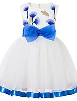 Недорогие -Дети Девочки Классический Однотонный Без рукавов Платье Синий 100