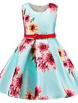 Недорогие -Дети Девочки Классический Однотонный Без рукавов Платье Светло-синий 110