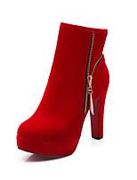 Недорогие -Жен. Искусственная кожа Наступила зима Минимализм Ботинки На толстом каблуке Закрытый мыс Сапоги до середины икры Черный / Красный