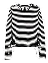 Недорогие -женская хлопчатобумажная тощая футболка - полосатая шея