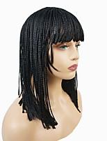 Недорогие -Парики из искусственных волос Афро тесьма Искусственные волосы 18 дюймовый Парик с косичками / Для темнокожих женщин / Африканские косички Черный Парик Жен. Средняя длина Без шапочки-основы