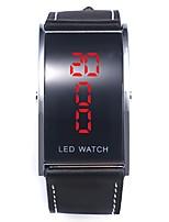 Недорогие -Муж. Наручные часы Цифровой Календарь Секундомер Новый дизайн Кожа Группа Цифровой Кольцеобразный Мода Черный - Черный Один год Срок службы батареи / Светящийся / Фосфоресцирующий / SSUO 377