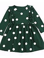 Недорогие -Дети Девочки Активный Рождество Горошек Длинный рукав Платье Зеленый 100