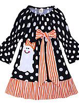 Недорогие -Дети (1-4 лет) Девочки Горошек / Контрастных цветов Длинный рукав Платье