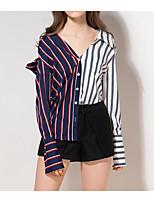 Недорогие -женская хлопковая свободная рубашка - полосатый воротник рубашки