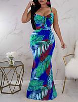 abordables -Femme Basique Maxi Gaine Robe - Dos Nu, Géométrique Printemps Eté Bleu Violet M L XL Sans Manches