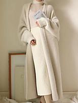 Недорогие -Жен. На выход Длинная Куртка, Однотонный Отложной Длинный рукав Полиэстер Синий / Зеленый / Бежевый Один размер