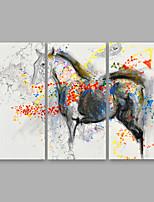 Недорогие -Hang-роспись маслом Ручная роспись - Абстракция Modern Включите внутренний каркас / 3 панели / Растянутый холст