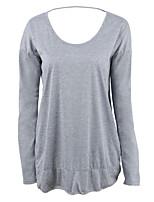 Недорогие -женская хлопчатобумажная свободная футболка - сплошной цветной шею