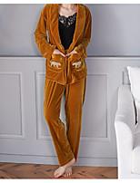 abordables -Revers en Pointe Costumes Pyjamas Femme Couleur Pleine