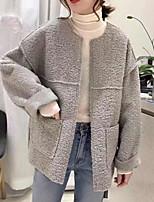 Недорогие -Жен. На выход Обычная Куртка, Однотонный Круглый вырез Длинный рукав Полиэстер Бежевый / Серый M / L / XL