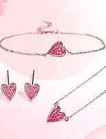 Недорогие -Жен. Классический Комплект ювелирных изделий - Сердце Включают Браслеты-цепочки и звенья Розовый Назначение На выход