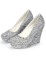 abordables -Femme Matière synthétique Printemps été Minimalisme Chaussures de mariage Hauteur de semelle compensée Bout rond Argent / Mariage