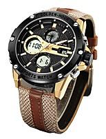 Недорогие -Муж. Спортивные часы Армейские часы Японский Цифровой 30 m Защита от влаги Календарь Секундомер Кожа Группа Аналого-цифровые Кольцеобразный Мода Коричневый / Зеленый -  / Два года