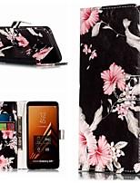 Недорогие -Кейс для Назначение SSamsung Galaxy A3 (2017) / A5 (2017) / A8 2018 Кошелек / Бумажник для карт / со стендом Чехол Цветы Твердый Кожа PU