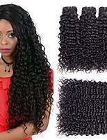 billiga -6 paket Malaysiskt hår / Indiskt hår Rak / Vattenvågor Äkta hår / Obehandlat Mänsligt hår Presenter / Huvudbonad / Human Hår vävar 8-28 tum Svart Hårförlängning av äkta hår Maskingjord Mjuk / Silkig