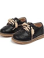 Недорогие -Девочки Обувь Кожа Осень Удобная обувь На плокой подошве для Дети (1-4 лет) Черный / Коричневый
